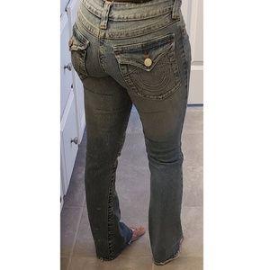 True religion wide leg faded jeans